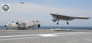 X-47B landing USS aircraft carrier