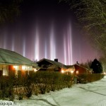 Thomas Kast's spectacular photo of light pillars in Oulu, Finland posted by NASA as picture of the day
